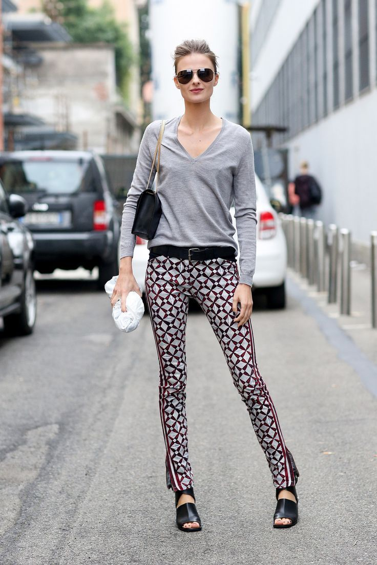 printed pants with gray top