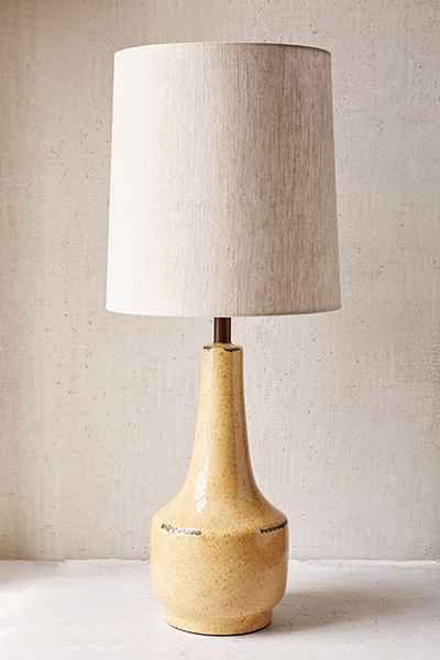 Vintage Inspired Boho Table Lamp In Sculpted Ceramic Topped With A Linen Hardback Round Shade UL Listed Content Care 100 Watt Bulb Max