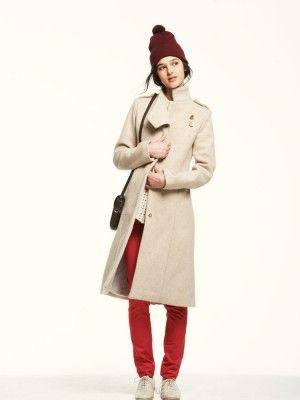beige winter coat // lauren moffatt  I am so wearing pom pom hats this winter