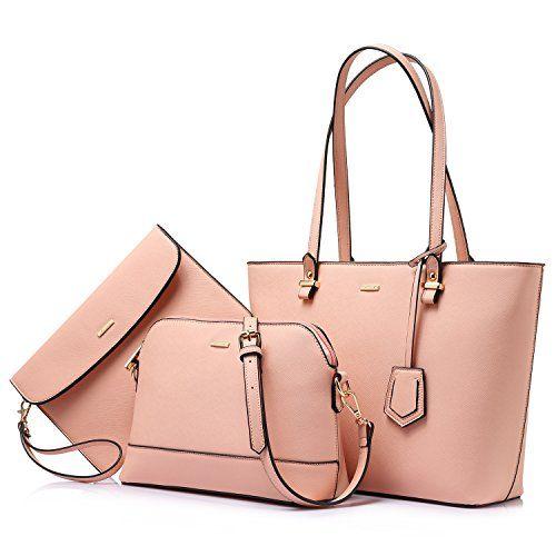 Handbags for Women Shoulder Bags Tote Satchel Hobo 3pcs Purse Set ... 6bb828325643c