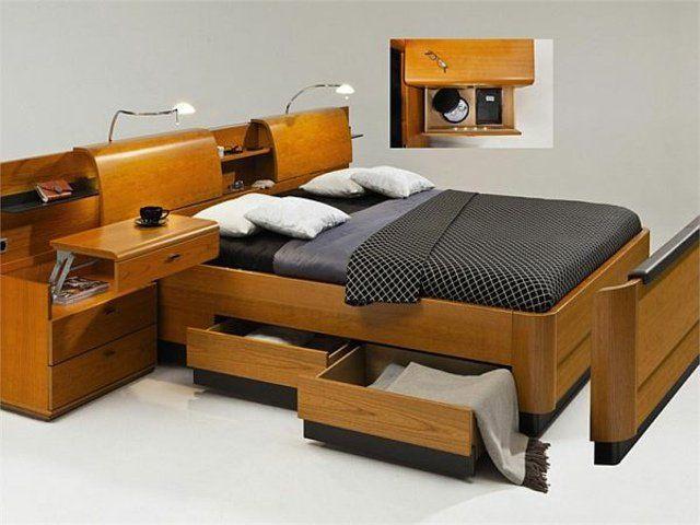 T te de lit avec rangement fonctionnelle et pratique lits avec rangement - Tete de lit 140 avec rangement ...