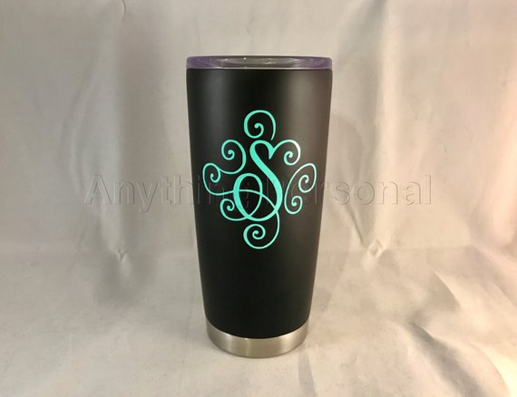 Personalized Stainless Steel Cup Initial Tumbler Monogram Gift Beach