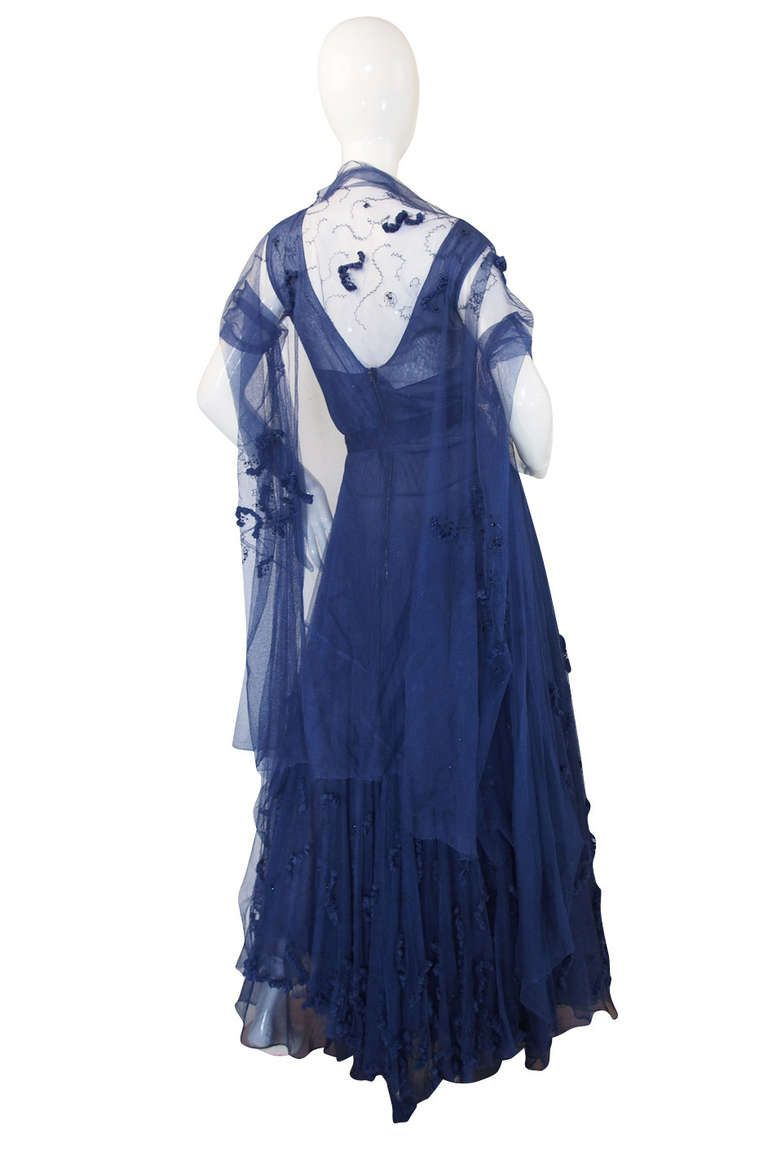 Late s norman hartnell attr couture net gown norman hartnell