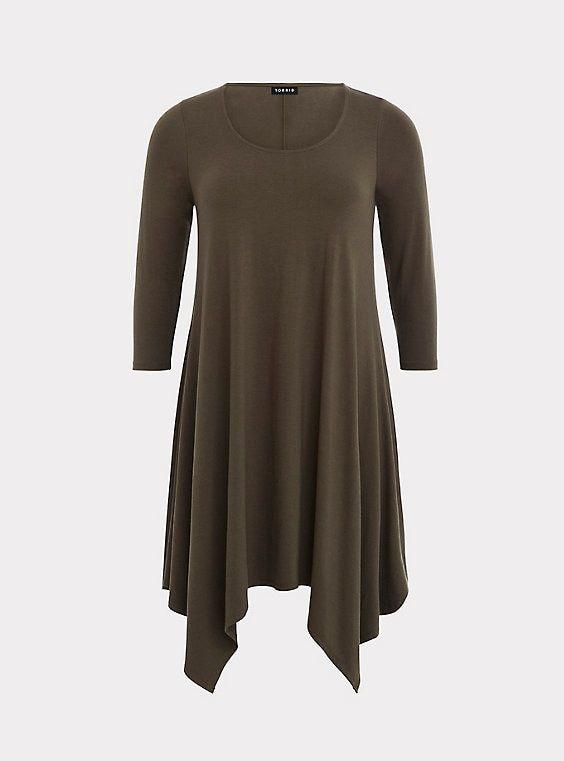 d59dd231c23 Olive Handkerchief Jersey DressOlive Handkerchief Jersey Dress