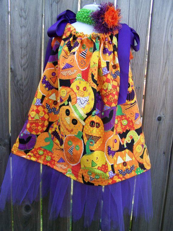 Pumpkin Patch Pillowcase Dress Baby Girl by SparkleberryCrafts, $28.00