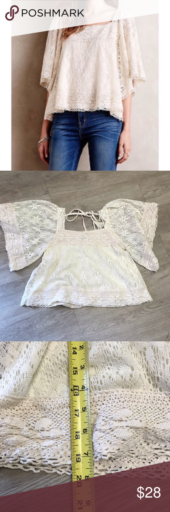 , Anthropologie Vanessa Virginia lace crochet top Boho festival peasant top  Wide sleeves Lined Tassel tie in back Gently used condition no holes no sta…, Anja Rubik Blog, Anja Rubik Blog