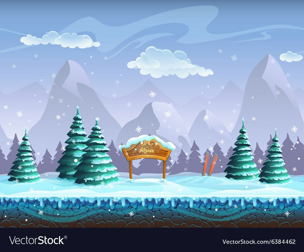 Seamless Cartoon Background With Winter Landscape Vector Image Aff Background Cartoon Seamless Cartoon Background Winter Landscape Halloween Vector