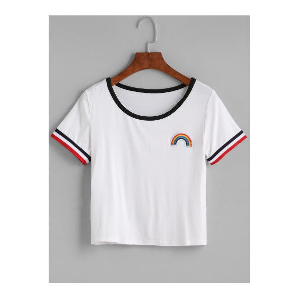 SheIn(sheinside) White Contrast Trim Rainbow Embroidered Patch T-shirt ($10) ❤ liked on Polyvore featuring tops, t-shirts, white, round neck t shirt, white top, white t shirt, summer tops and short sleeve tee