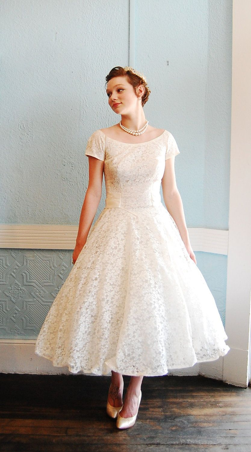 Etsy Wedding Dresses | Vintage 1950s White Lace Cap Sleeve Tea ...