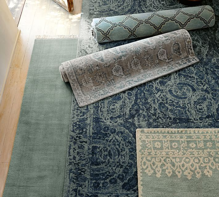Desa Bordered Wool Rug Blue Rugs