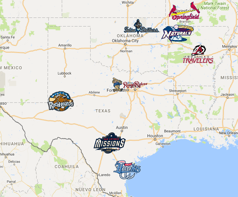 Map Of Texas League City.Texas League Map Minor League Baseball Texas Team Logo