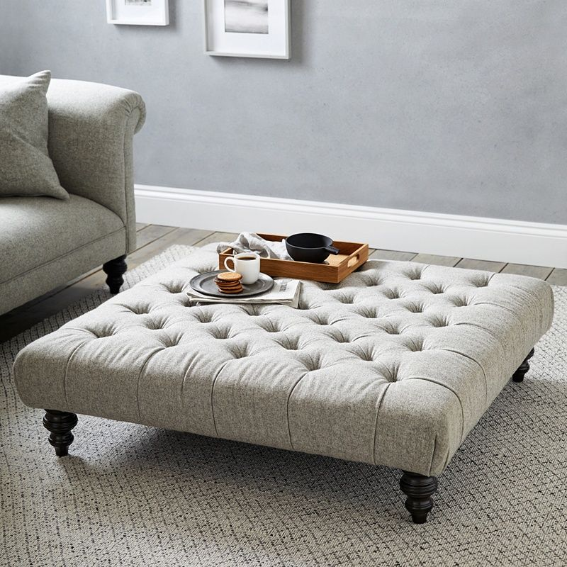 Hampstead Square Wool Footstool Hampstead Collection The White