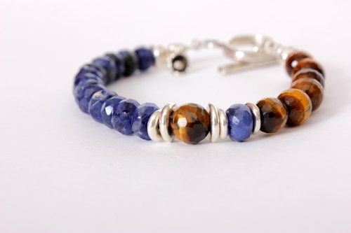 Tigers Eye and Blue Sodalite Gemstones with Sterling Silver Bracelet | Tuesdaysmuse - Jewelry on ArtFire