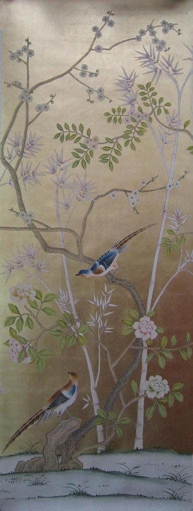 Chinoiserie handpainted wallpaper on gold metallic leaf