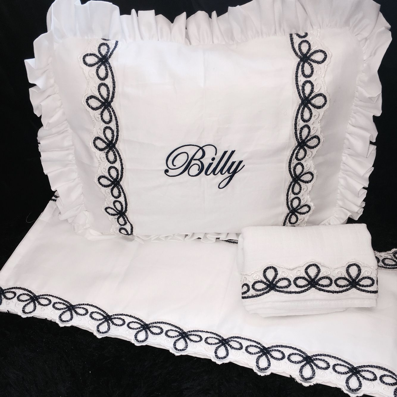 White And Navy Classic Pram Set Pillow Pillow Case