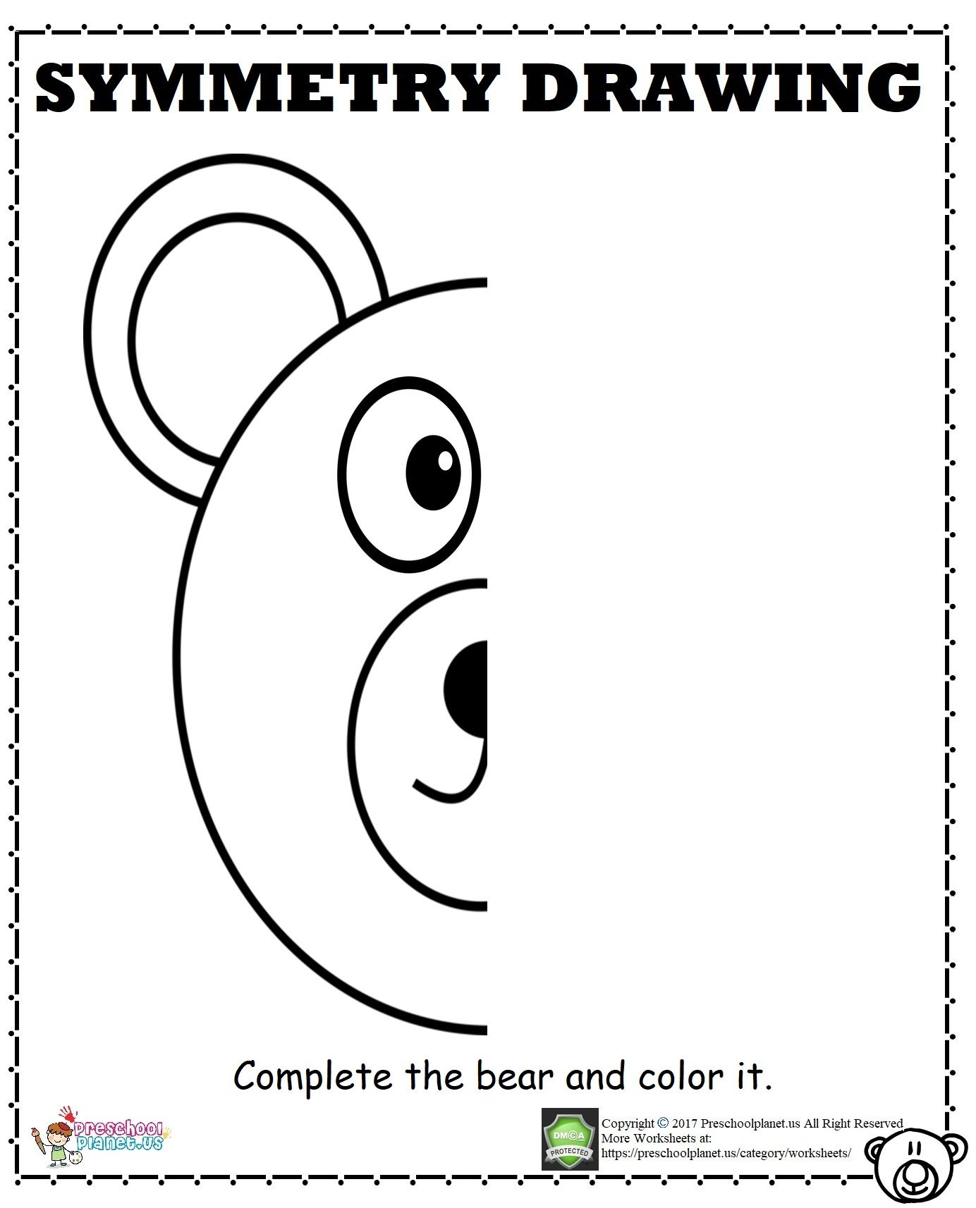 Bear Symmetry Worksheet Calisma Tablolari Anaokulu Sinif