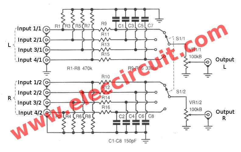 Analog Signal Selector Switch Eleccircuit Com In 2020 Analog Signal Electronic Schematics Analog