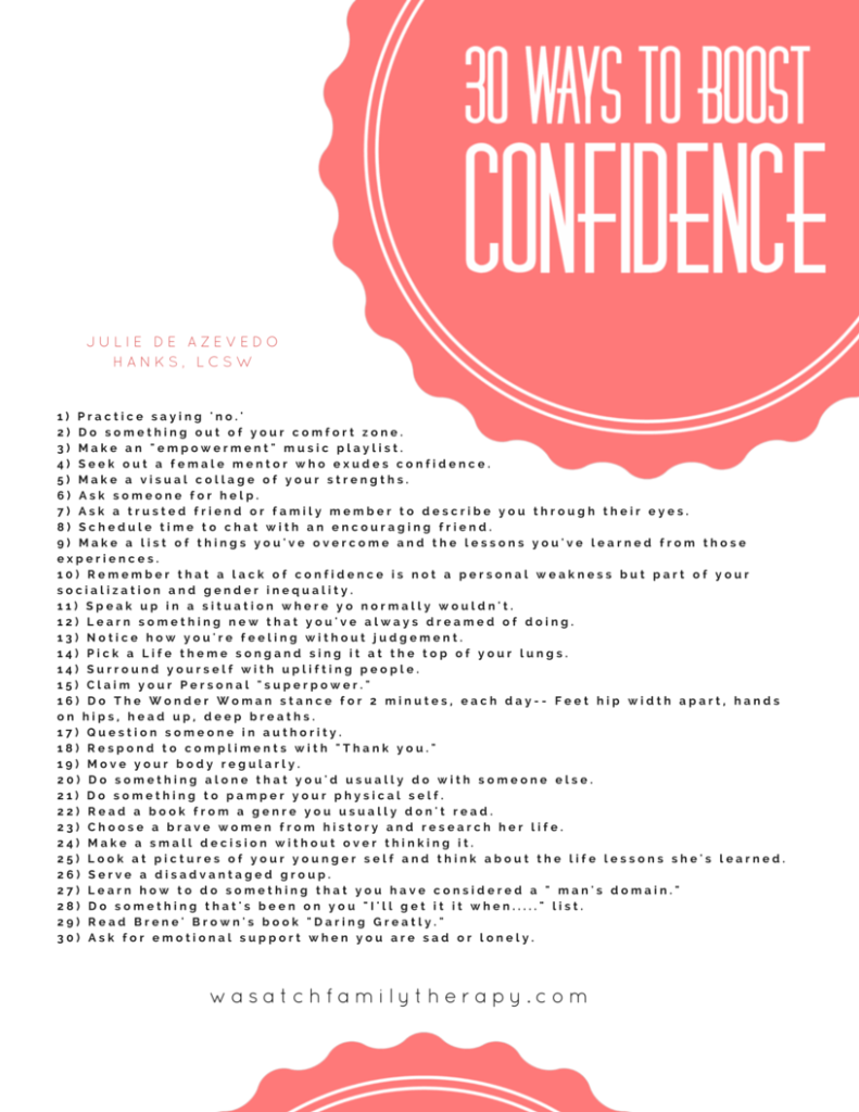 30 Ways to Boost Confidence Free Printable Download