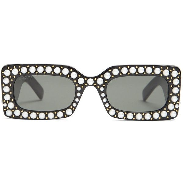 3f776082d20 Gucci Faux-pearl embellished acetate sunglasses found on Polyvore featuring  accessories