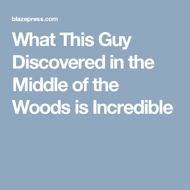 What This Guy Discovered In The Middle Of The Woods Is Incredible - Guy discovered middle woods incredible