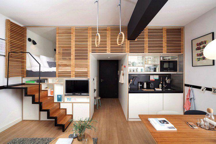 Aménagement Petit Espace, Sol En Parquet Massif, Escalier Droit, Chambre En  Mezzanine Et Cuisine Intégrée
