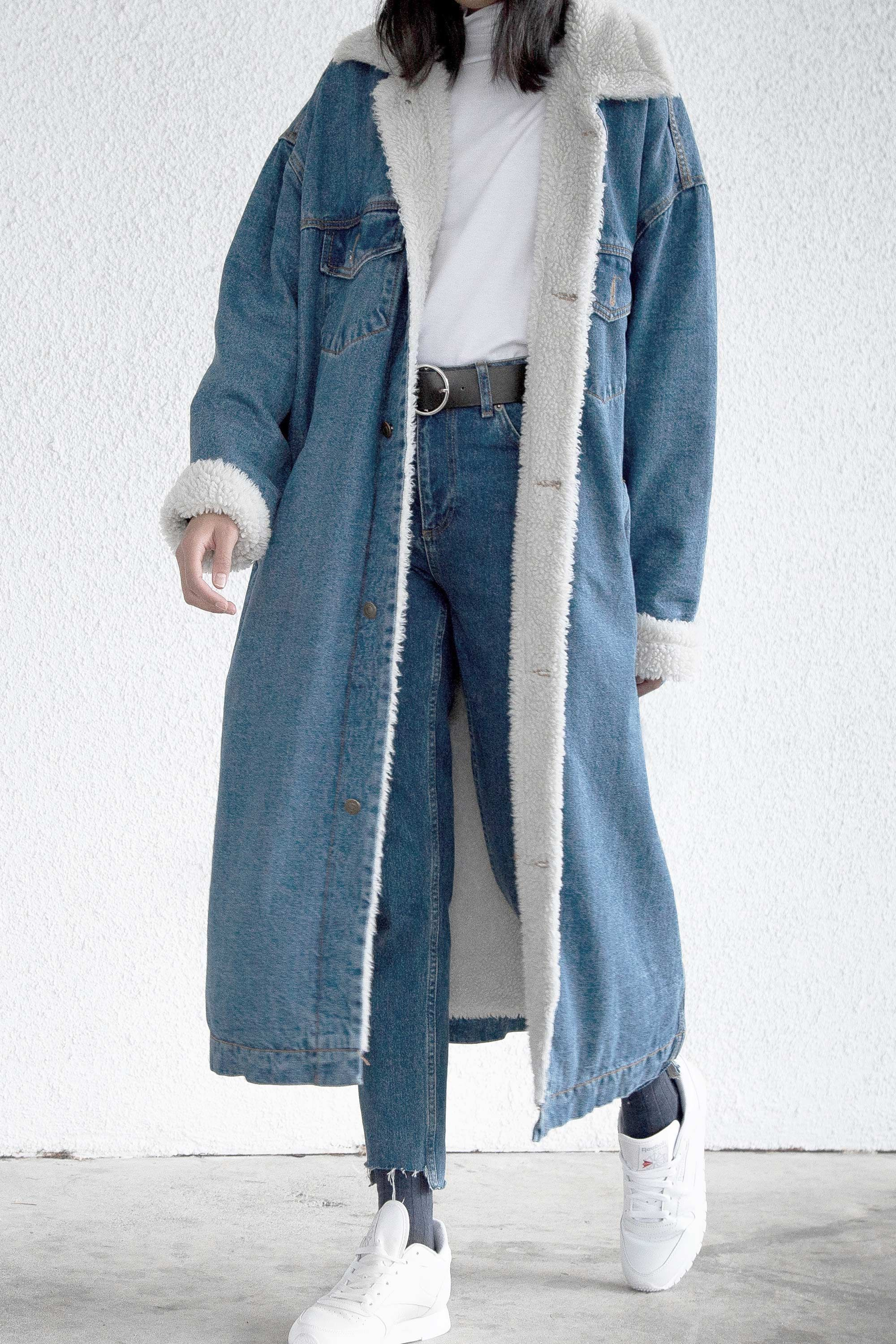 e0393ebfb016 long classic denim jacket with sherpa lining from  oakandfort ...