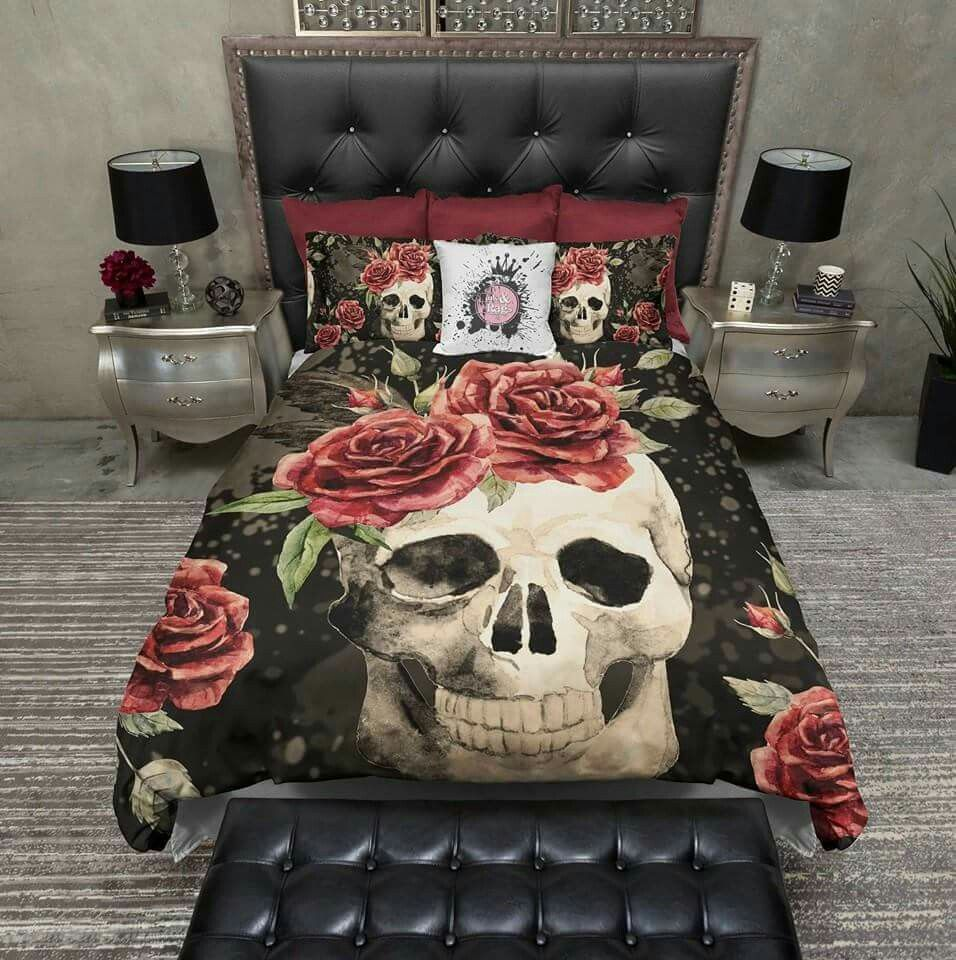 Awesome Antiqued Red Rose Skull Duvet Bedding Sets This Is Definitely Different But  I Like It!