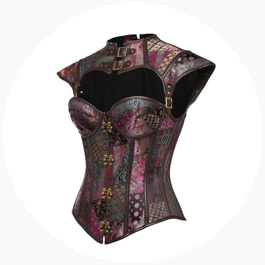 93e8c409f63 Women s Sexy Steampunk Purple-golden Gothic Slimming Corset Bra Faux  Leather Foral Lace Basques Overbust Corsets Bustiers  date  sexy  stockings   adulttoys ...