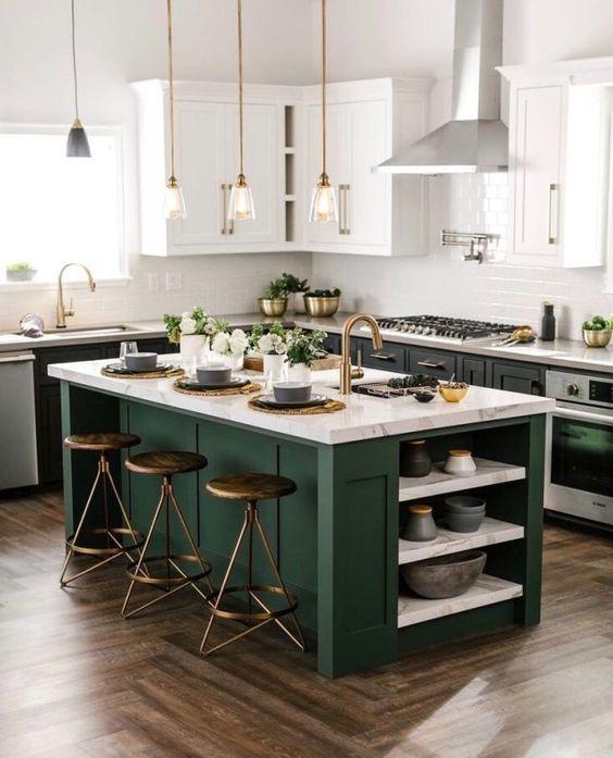 Ilot Central Ou Bar De Cuisine Choisir En Fonction De L Espace Blog Rhinov Cuisine Moderne Idee Couleur Cuisine Cuisines Design