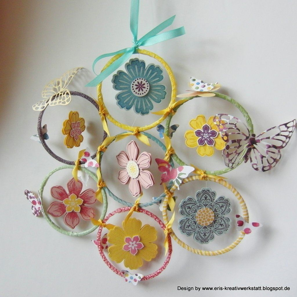 Frühlings-Mobile mit Schmetterlingen und Blumen   http://eris-kreativwerkstatt.blogspot.de/2015/02/fruhlings-mobile-mit-schmetterlingen.html  #stampinup #homedeko #mobile #teamsa #teamstampingart