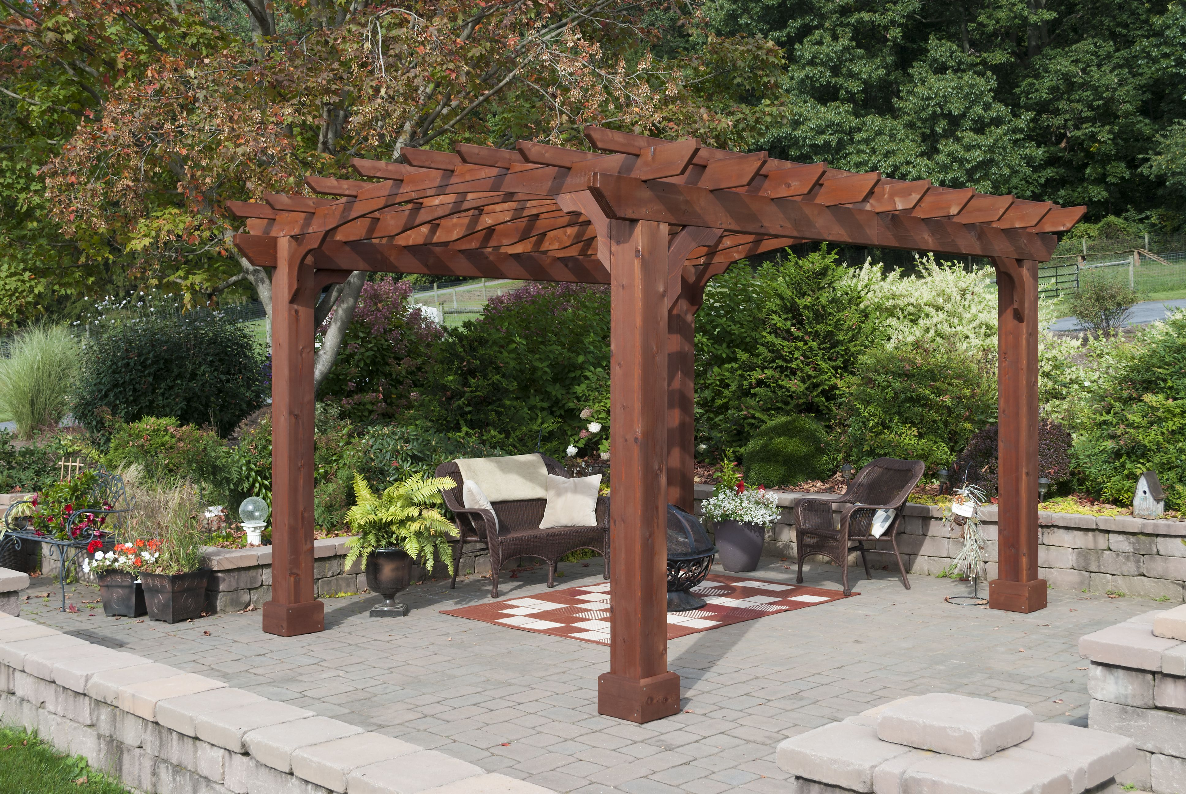 10x12 Wood Pergola Kit Canyon Brown Yardcraft Wood Pergola Wood Pergola Kits Pergola Designs
