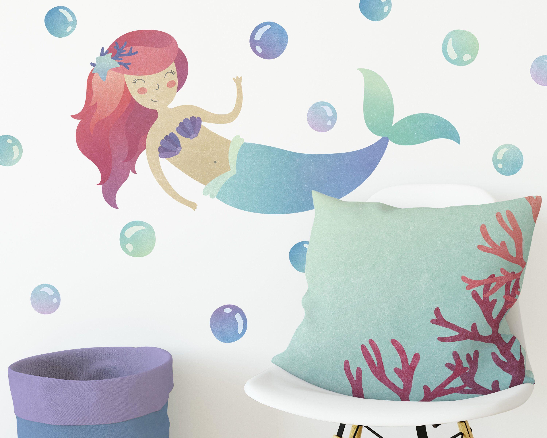 Mermaid Wall Decal Wall Decor Watercolor Mermaid Wall Art
