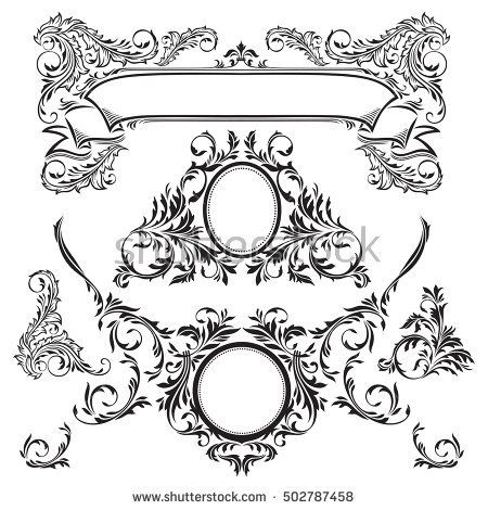 Vector decorative elements. The ribbon with the ornament title and the medallions. For certificates, menus, greeting cards.