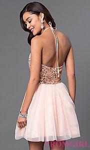 1095183038b Image of short keyhole sequin-bodice halter homecoming dress. Style   MQ-7031174 Back Image