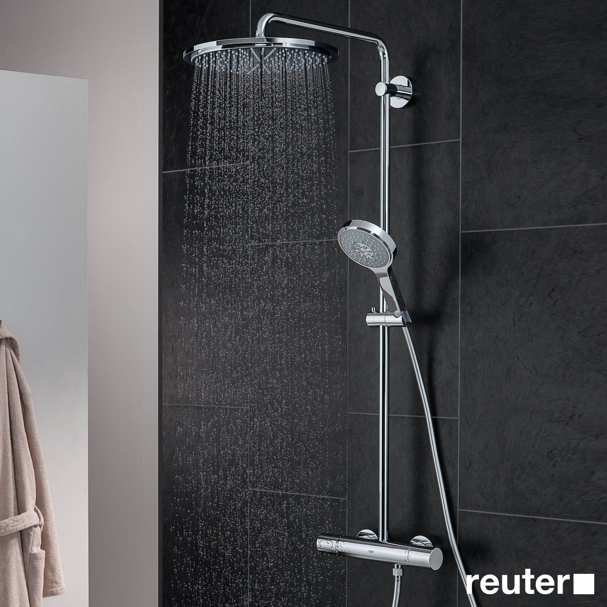grohe rainshower system 310 duschsystem mit thermostatbatterie f r wandmontage badezimmer. Black Bedroom Furniture Sets. Home Design Ideas