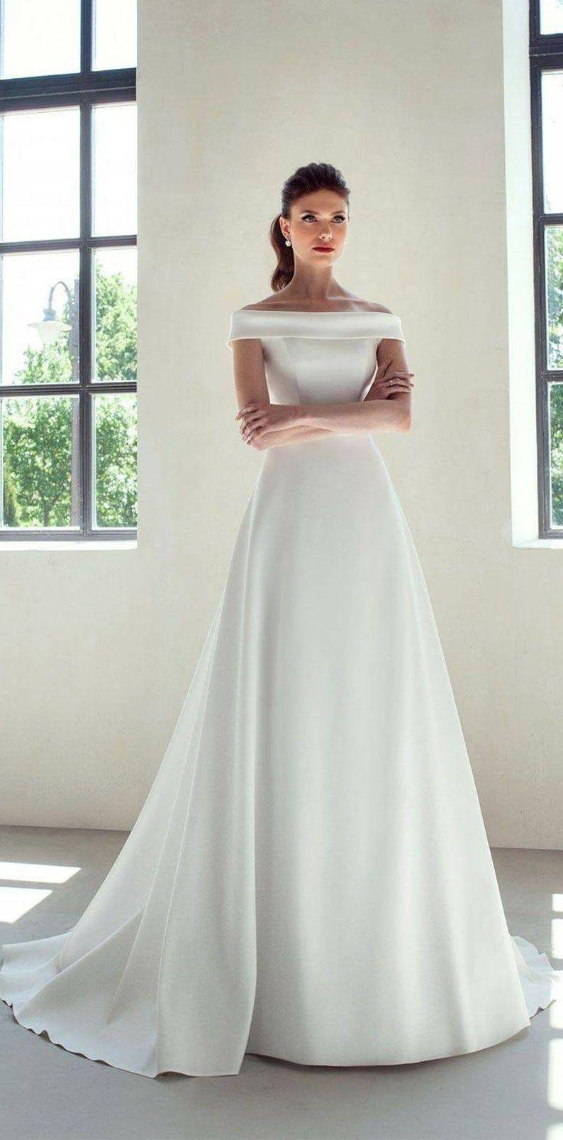 White Off Shoulder Satin Wedding Reception Dressafrican Women Etsy Simple Wedding Gowns Off Shoulder Wedding Dress Wedding Dresses [ 1606 x 794 Pixel ]