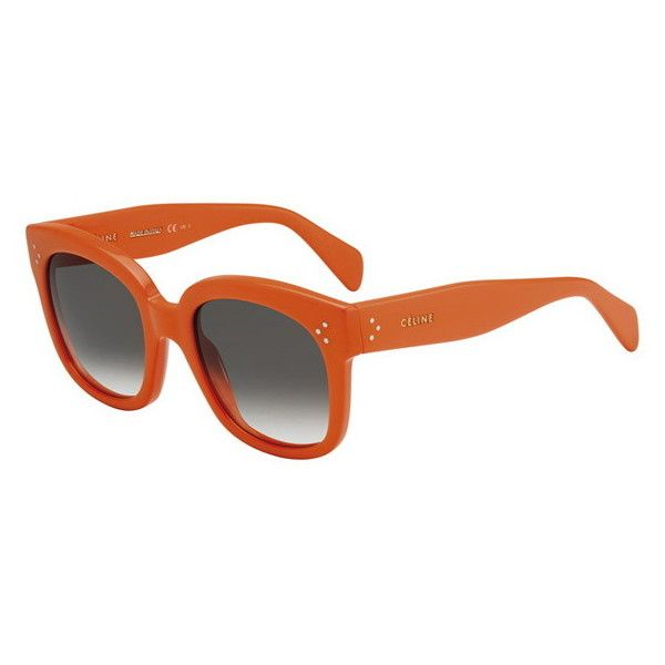 Celine CL 41805/S New Audrey J26/Z3 Sunglasses (1,890 SVC) ❤ liked on Polyvore featuring accessories, eyewear, sunglasses, orange, celine glasses, orange glasses, orange lens sunglasses, lens glasses and acetate sunglasses