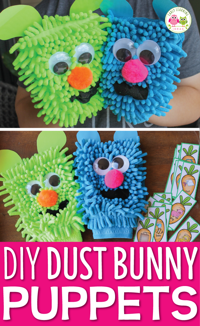 Rhyming Activities with DIY Dust Bunny Puppets | Literacy work ...