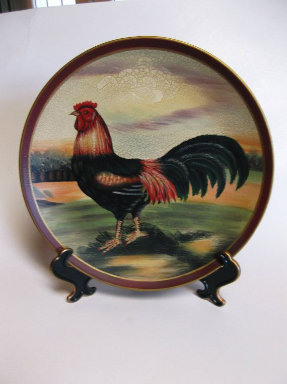 Decorative Rooster Plate by MidnightandMagnolias on Etsy $18.00 & Decorative Rooster Plate by MidnightandMagnolias on Etsy $18.00 ...