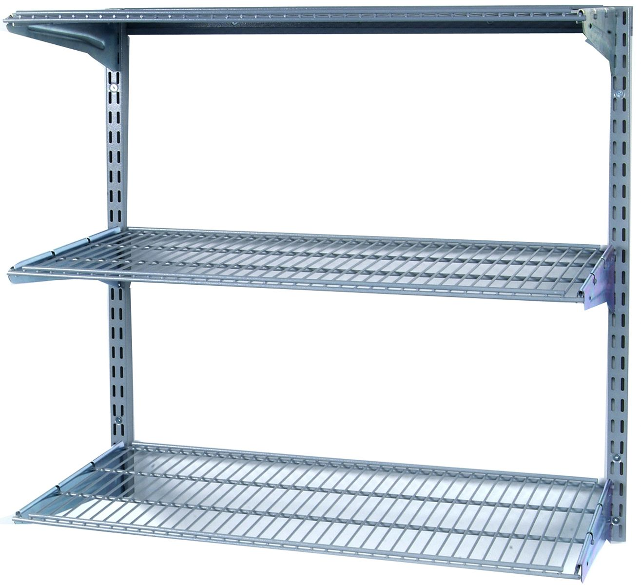 Storability 33 In L X 31 5 In H Wall Mount Shelving Unit With 3 Wire Shelves And Mounting Hardware 1795 0 The Home Depot Wall Mounted Shelves Wire Shelving Steel Wall