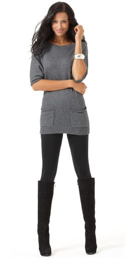long sweater tunic leggings knee high boots. simple  chic.