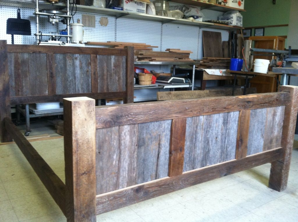 reclaimed wood bed frame bed frame is constructed from solid reclaimed pine - Unique Bed Frame
