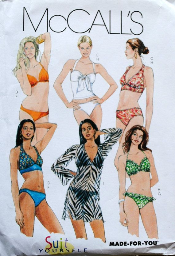 c43ea88de2b Uncut Misses Two Piece Lined Halter Top Ruffle High Cut Bathing Suit & Slit Cover  Up Swimwear Size 12 14 16 18 Sewing Pattern McCalls M5400