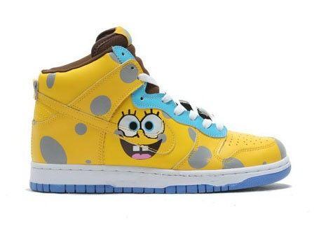 Cartoon Nikes Spongebob Squarepants Nike Dunks Tennis Footwear High