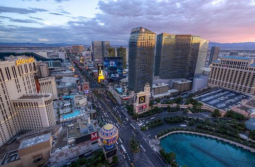 The Las Vegas Strip, moments before sunset, Nevada, USA  Source: maxunterwegs (flickr)