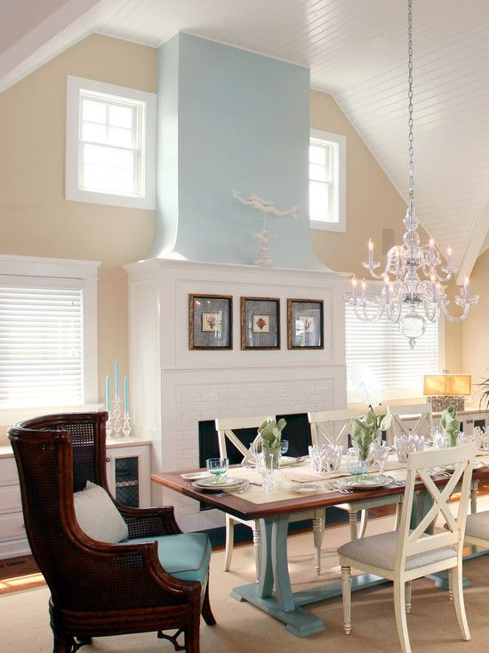 Converted traditional livingroom into dining room in a for Light blue dining room ideas