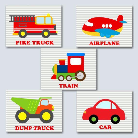 Transportation Nursery Wall Art Names Playroom Wall Decor Cars Etsy Nursery Wall Art Boy Transportation Nursery Art Wall Kids