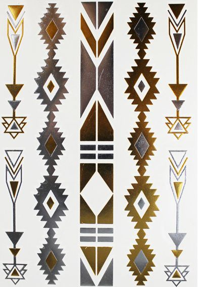 Tatouage ephemere motifs navajo dore argente pinteres - Tatouage ephemere dore ...