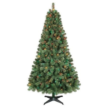 6 ft Pre-Lit Alberta Spruce Artificial Christmas Tree- Multi-Color