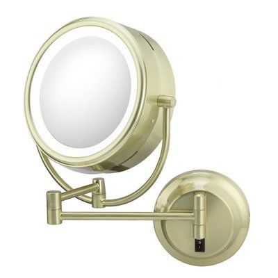 Kimball Young Neomodern Led Lighted Hardwire Wall Mirror Finish Brushed Brass Lighted Magnifying Makeup Mirror Led Makeup Mirror